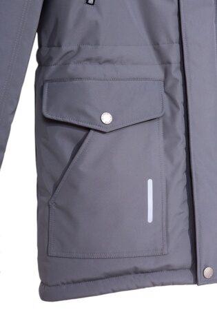 Подростковая детская зимняя куртка парка на мальчика арт 240 серая 4