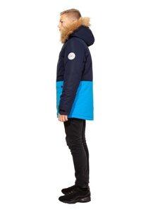 Зимняя куртка на мальчика зима 2018-2019 арт 282 т синий голубой 2