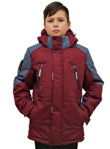 Бордовая детская зимняя куртка на мальчика арт 213 2