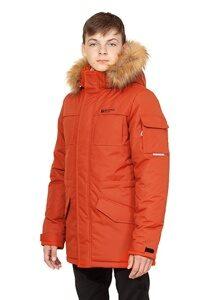 Терракотовая куртка аляска на мальчика зима 2018 2019 арт 285 лицо