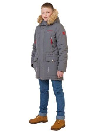 Подростковая детская зимняя куртка парка на мальчика арт 240 серая лицо
