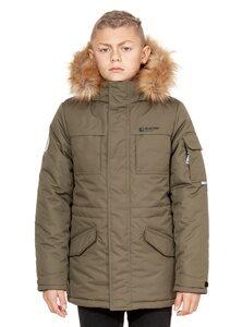 куртка аляска на мальчика зима 2018 2019 арт 285 хаки лицо 1