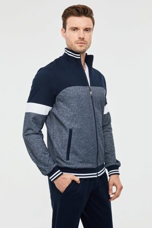 Трикотажный мужской спортивный костюм синий 1135 2