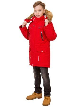 Подростковая детская зимняя куртка парка на мальчика арт 240 красная лицо