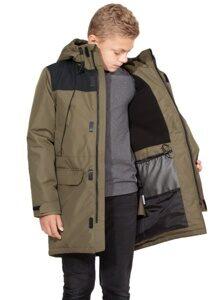 Демисезонная куртка на подростка мальчика цвет хаки