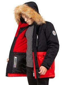 Зимняя куртка на мальчика зима 2018-2019 арт 282 черно красный лицо
