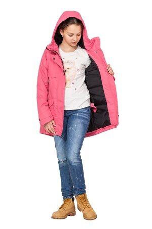 Подростковая куртка осень весна для девочки арт 271 розовая 7