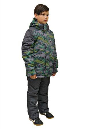 Детский зимний костюм на мальчика до минус 30 арт 213 зеленый 3