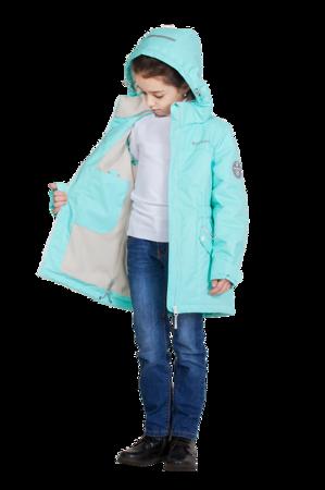 Детская куртка осень весна для девочки мятная 5