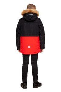 Зимняя куртка на мальчика зима 2018-2019 арт 282 черно красный 5