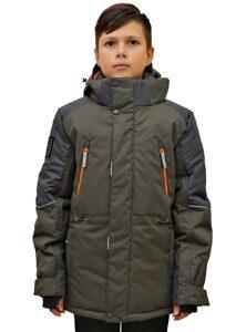 Куртка цвета хаки на мальчика зима 2018 2019 арт 213 2