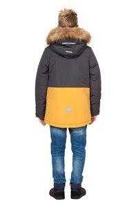 Зимняя куртка на мальчика зима 2018-2019 арт 282 серый горчица 6