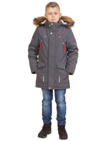 Зимняя куртка парка для мальчика серая арт 240 2 лицо