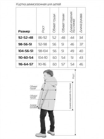 Таблица размеров дети куртки демисезон