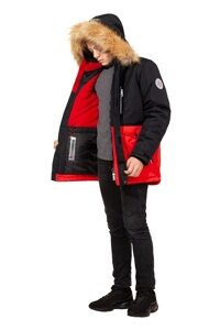 Зимняя куртка на мальчика зима 2018-2019 арт 282 черно красный 6
