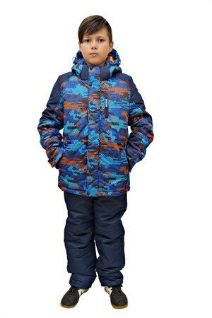 Детский зимний костюм на мальчика до минус 30 арт 213 синий оранж 2